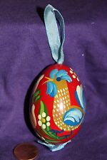 Wood Hand Painted Egg Ornament Folk Art Rooster blue ribbon
