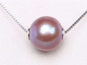 11-12mm Purple Roundness edison frshwater pearl pendant 925 silver chain