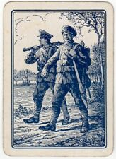 Playing Cards 1 Swap Card - Old Antique Wide WW1 Army SOLDIERS + RIFLE Military
