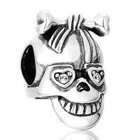 Fancy Silver Skull Charm Bead for Bracelet Necklace, Delicate Silver Jewellery