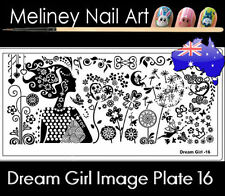 Dream Girl 16 Stamping Nail Art Image Plate Design Rectangle XL Stencil metal