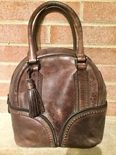 PINEIDER ITALY BROWN DISTRESSED LEATHER LARGE BOWLER HANDBAG SATCHEL