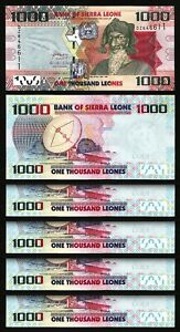 Sierra Leone 1000 Leones 2013, UNC, 5 Pcs LOT, Consecutive, P-30, Prefix DZ
