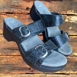 DANSKO Sophie Black Embossed Floral Tooled Leather Comfort Sandals Slides 37