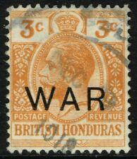 SG 120 BRITISH HONDURAS 1918 WAR STAMP - 3c ORANGE - USED