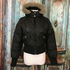 DKNY Active Woman's Size XS Black Zip Faux Fur Down Hooded Parka Coat Jacket D1