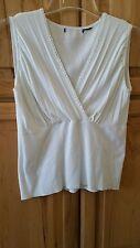 Women's Slimming White Tank Top Pleated VNeck Faux Wrap Knit Sleeveless Blouse M
