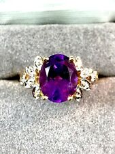DAZZLING 10K YELLOW GOLD OVAL FACETED AMETHYST DIAMOND COCKTAIL RING SIZE 7
