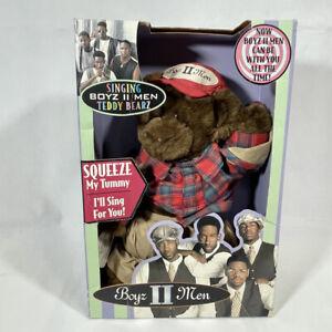 Vintage 1996 BOYZ II MEN SHAWN SLIM SINGING TEDDY BEARZ Water Runs Dry NEW WORKS