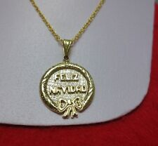 "14KT GOLD EP FELIZ NAVIDAD 3D CHARM PENDANT WITH 24""  14KT GOLD EP ROPE CHAIN"