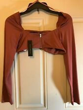 Revamped Long Sleeve Petite Extra Small Tube Top-Zipper Front-Stretch-Mauve NWT