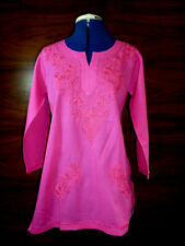 Pink Indian Kurta Tunic Pure cotton Hand embroidered Hip length Size 12  NEW