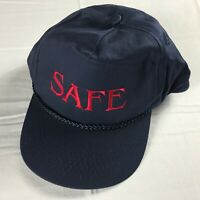 Safe Snapback Hat VTG Cap Navy Blue Cotton Red Adult One Size Mens Womens Gift