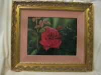 Kathryn J. Houghton framed signed oil painting beautiful red rose Indiana artist