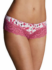 M & S Size 14 Isabella Floral lace Brazilian Knickers Panties Briefs Pink