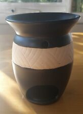 Ceramic Oil Burner Vase in Brown and White . For Aromatherapy Oils and Wax Melts