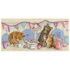 "Tea Time (Cats And Kittens) Cross Stitch Kit - 12"" x 6"" - DMC"