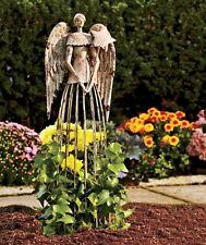 "Antiqued Garden Angel Plant Lattice 25-1/2"" Metal Garden Statue Decor Metal"