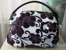 New Saks Fifth Avenue Chocolate Floral Fabric Tote Bag