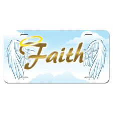 Faith with Halo and Angel Wings - Religious Christianity Vanity License Plate