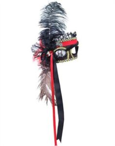 RED BLACK FANCY STEAMPUNK PIRATE EYE MASK Mardi Gras Masquerade Venetian    M-3