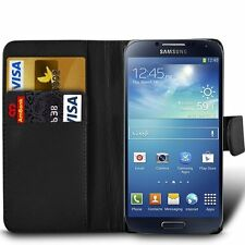 Wallet BLACK Leather Flip Case Cover Pouch For Galaxy S4 Value Edition GT-i9515