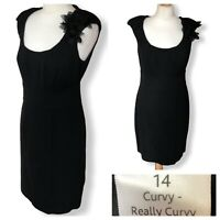 Pepperberry Black Dress Size 14 CRC Curvy Really Curvy Shift Occasion Smart Work