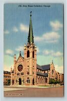 Chicago IL, Holy Name Cathedral, Archdiocese Seat, Linen Illinois Postcard