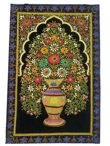 Rugs Jewel Carpet Wall Hanging Flower 2' X 3' Hand Embroidery Gemstone Zardozi