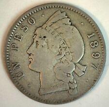 1897 A Dominican Republic Silver Peso Coin You Grade Circulated Nice Coin