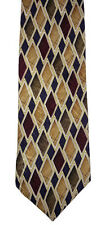 New Haven Burgundy & Gold Diamond Geometric Tie Wide Silk