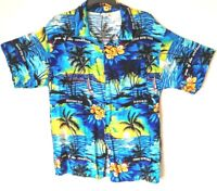 Jolie Madame Fashions Mens Hawaiian Camp Shirt Blue Jamaica Beach Resort Size XL