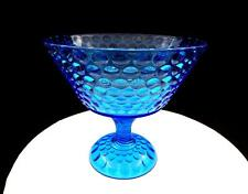 """EAPG BLUE BUBBLE GLASS SPIRAL STEM 7 3/8"""" COMPOTE 1850-1910"""
