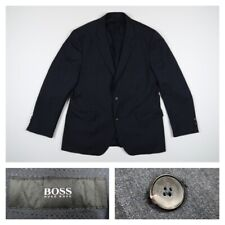 Hugo Boss Mens 42R Johnstons Lenon Black Two Button Stretch Wool Jacket Blazer