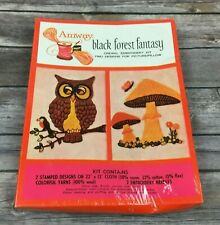 Vintage 1973 Amway Crewel Embroidery Kit Black Forest Fantasy Owl Mushrooms NOS