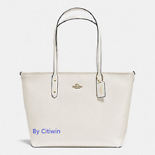 New Coach F58846 F36875 Crossgain Leather City Zip Tote Handbag Purse Bag White