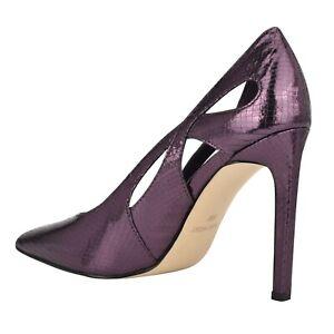 Nine West TESS Bronze Pewter Purple Textured Metallic Shiny Heel Dress Pump 12M