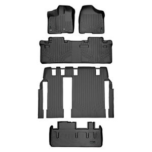 All Weather Floor Mats Set 3 Rows Cargo Liner for Toyota Sienna 8 Seats Black