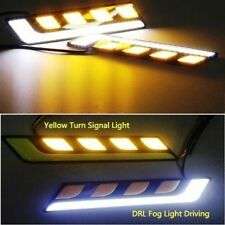 2 x White L Shape COB Car LED DRL Fog Light Driving + Yellow Turn Signal Bulb