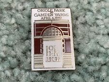 1992 Camden Yards Opening Day Baltimore Orioles Baseball Pin 4/6 v Indians