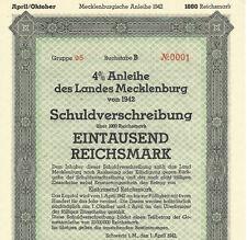 War-time German Municipal Bond Certificate WWII + Swastika (1000 Reichsmark) WW2