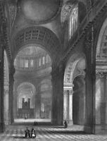 London SAINT PAUL'S CATHEDRAL CHURCH NAVE, 1838 Architecture Art Print Engraving