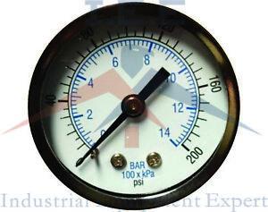 "New Air pressure Gauge air compressor hydraulic 2"" face 0-200 back mnt 1/8"" NPT"