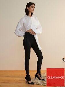 River Island Studio Ponte Zip Cuff Trouser- Black Womens UK 16
