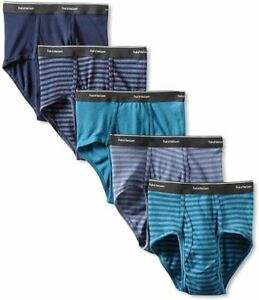 Fruit of the Loom 5 Pk Men's Briefs Stripe/solid Whit Fashion Plush-backed...