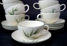 Vintage Winfield Bamboo Green Cups & Saucers Set of 4