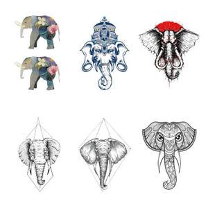 6x Elephant Cartoon Temporary Tattoo Sticker Waterproof Adult Men Women Hand Arm