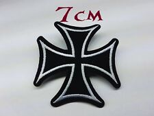 Quality Iron/Sew on Iron cross biker patch funny motorcycle nazi germany soft