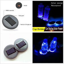 2xUniversal Solar Energy Cup Holder Bottom Pad LED Light Cover Trim For All Cars