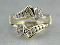 14K Yellow Gold Over 0.50Ct Diamond Enhancer Ring Solitaire Guard Wrap Band